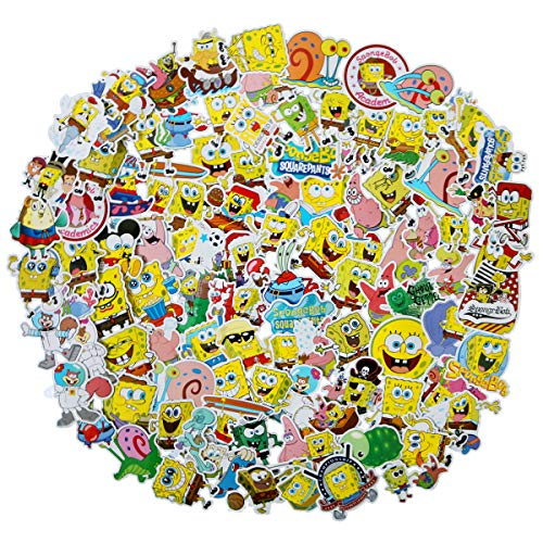 100pcs Spongebob Squarepants Stickers Set Cartoon Sticker Decals for Water Bottle Laptop Cellphone Bicycle Motorcycle Car Bumper Luggage Travel Case. Etc (Spongebob Squarepants)