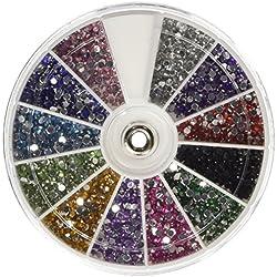 CJESLNA Rhinestones 2400 Piece 12 Color Nail Art Nailart Manicure Wheels