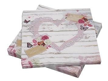 Unbekannt Servietten Vintage Hochzeit Herz Rosa Pink Motiv Tischdeko