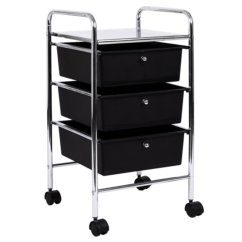 Home Discount 3 Drawer Trolley, Black Mobile Storage Wheels FREE DELIVERY
