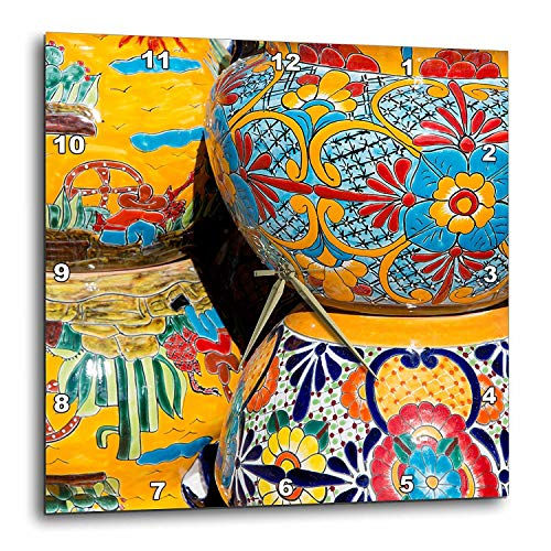 Arizona, Tucson, Tubac Traditional Hand-Painted Mexican Pottery Wall Clock, 13 by 13