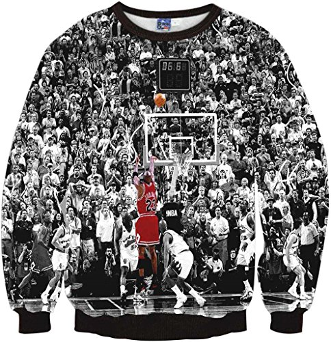 Pizoff Unisex Hip Hop Sweatshirts mit 3D Digital Print 3D Muster Jordan Basketball Jumper lore Y1759-F8-L