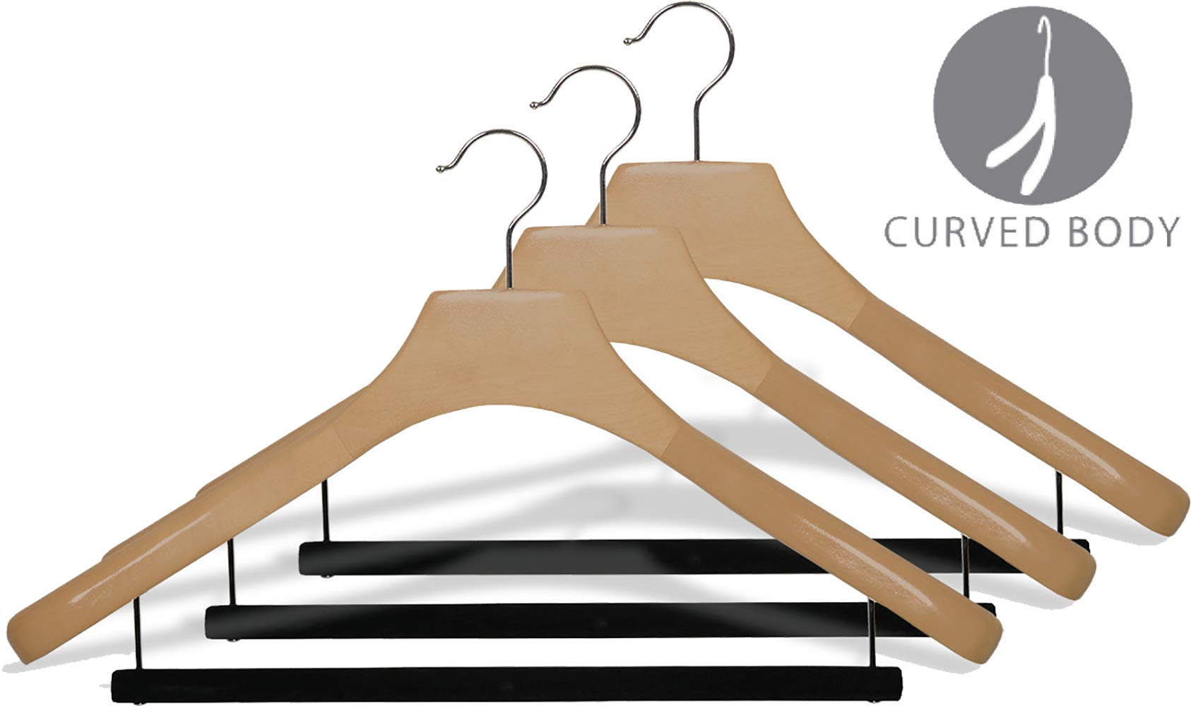 Deluxe Wooden Suit Hanger with Velvet Bar, Natural Finish & Chrome Swivel Hook, Large 2 Inch Wide Contoured Coat & Jacket Hangers (Set of 24) by The Great American Hanger Company by The Great American Hanger Company (Image #2)