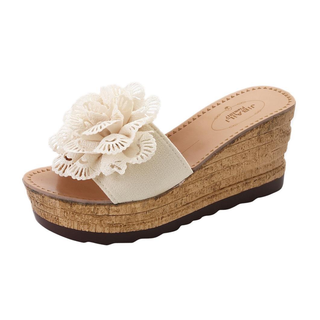 Chaussures Femme Été, GongzhuMM Sandales Compensées Femmes Fleurs 3D Tongs Femmes Bohême Chaussures de Plage à Talons Hauts 8 cm