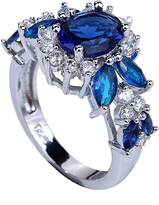 YAZILIND Ladies Wedding Ring with Round Topaz Leaf and Engagement Ring Made of Silver Plated for Lovers Presents