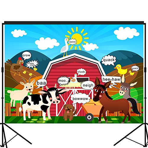 musykrafties Barn Farm Animals Party Backdrop Large Banner Decoration Dessert Table Background Photobooth Prop 7x5 feet for $<!--$16.99-->