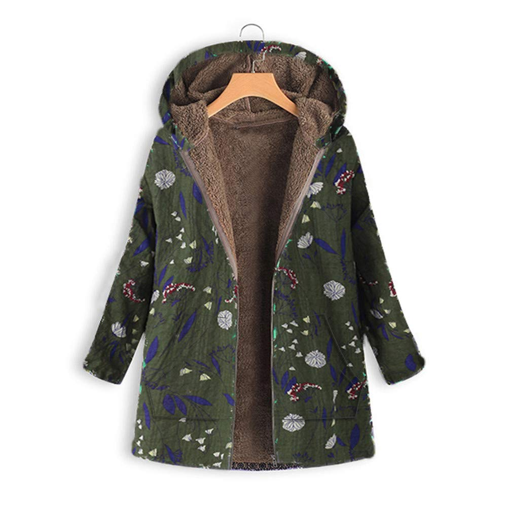 e43e42d7 KUDICO Womens Hoodie Coats Winter Warm Thick Outwear Casual Floral Print  Zip Pockets Vintage Jacket