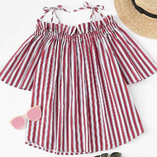 women-summer-fashion-off-the-shoulder-stripe-short-sleeve-tops-blouse-t-shirt-l-red