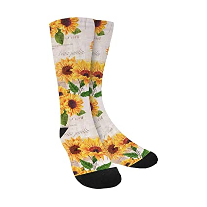 16748a080e309 INTERESTPRINT Sunflower Funny Cute Novelty and Cool Sublimated Crew Socks  Unisex