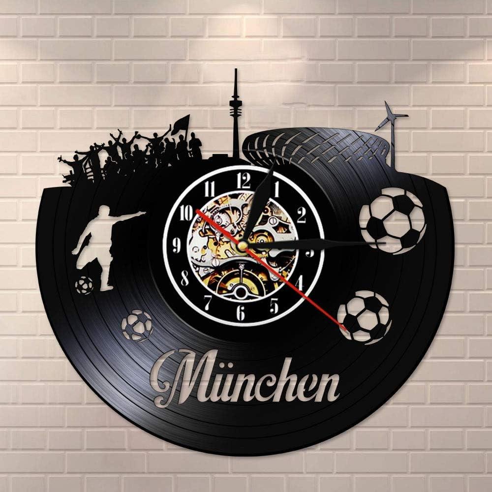 Múnich City Skyline Reloj de pared silencioso Estadio nacional de fútbol alemán Fan Celebration Championship Arte de la pared Vinyl Record Watch