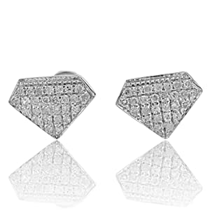10k White Gold Diamond Shape Fashion Earrings 0.14Cttw Diamonds Screw Back 6mm Wide(i2/i3, i/j)