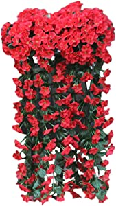 Vivid Artificial Plants & Flowers-Artificial Flowers for Home Decor Indoor Outdoors Decoration Hanging Baskets with Plants and Flowers,Orchid Bunch,Violet,Wall Wisteria,Vine Flowers (F)