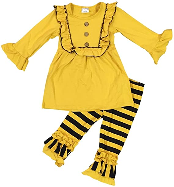 74c4453c6 Amazon.com  Little Girls 2 Pieces Dress Set Ruffles Dress Stripe ...
