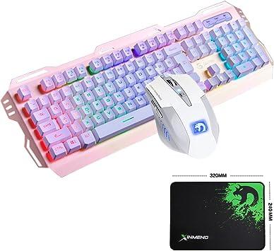 UrChoiceLtd Teclado y Ratón Combo Gamer con Cable 104 Teclas Rainbow Backlit USB Ergonómico Metal Gaming Keypad + 2400DPI 6 Botones Óptico Gaming ...