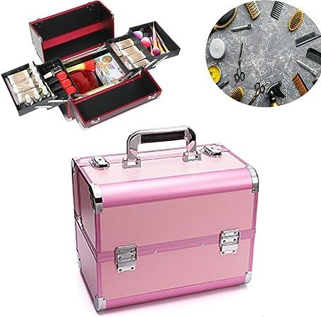 Wensa Estuche de Maquillaje, 3 Niveles, Vanity Case con Espejo Maquillaje Profesional Caja de Tren Almacenamiento Caja de Belleza Estuche cosmético Organizador de Joyas,Pink: Amazon.es: Hogar