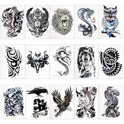 Nydotd 15 Sheets Temporary Tattoos Stickers, Waterproof Fake Tattoos Body Art Stickers Fake Body Arm Chest Shoulder Tattoos For Men and Women -