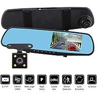 HaoYiShang Videocamera Full HD 1080p per auto, registrazione fronte e retro–dashcam con monitor da 4,2 pollici, specchietto retrovisore, visione notturna, tachigrafo