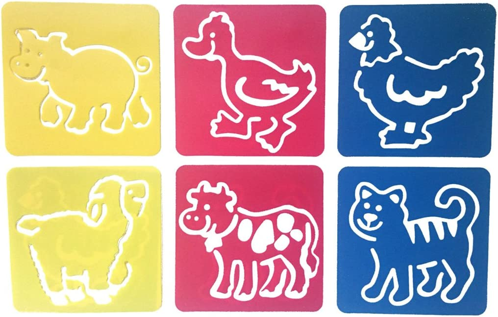 Six Different Patterns of Painting Templates,Washable Template for School Projects Hillento 6 Packs Painting Stencil Plastic Animal Childrens Drawing Templates for Kids Crafts 36 Pieces
