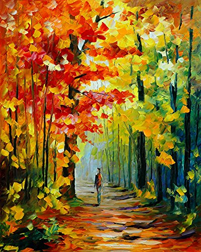 Assorted Paint-by-Number Kits for Adults - Autumn Walk (Frameless) - Includes Brushes, Paints and Numbered Canvas - 16'' x 20'' - Great for kids and adults - by Red Stapler