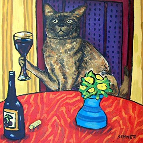 - Burmese Cat at the Wine Bar art tile coaster gift