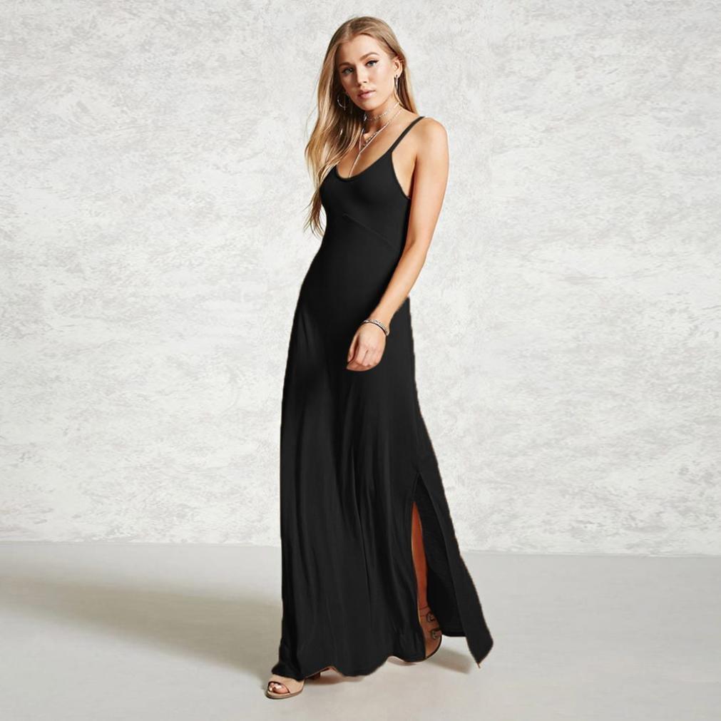 b207d5d5b4c7 Amazon.com: Paymenow Maxi Dress, Women Round Neck Solid Sleeveless Summer  Classical Long Dress Casual Loose Split Sling Dress: Clothing