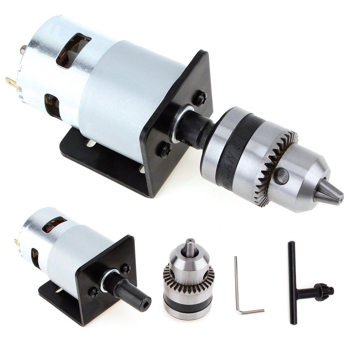 【The Best Deal】OriGlam 12-24V Mini Hand Drill Bits, DIY Lathe Press Motor Chuck and Mounting Bracket