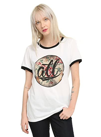 f1f30e3bf3 Hot Topic Time Low Floral Logo Girls Ringer T-Shirt