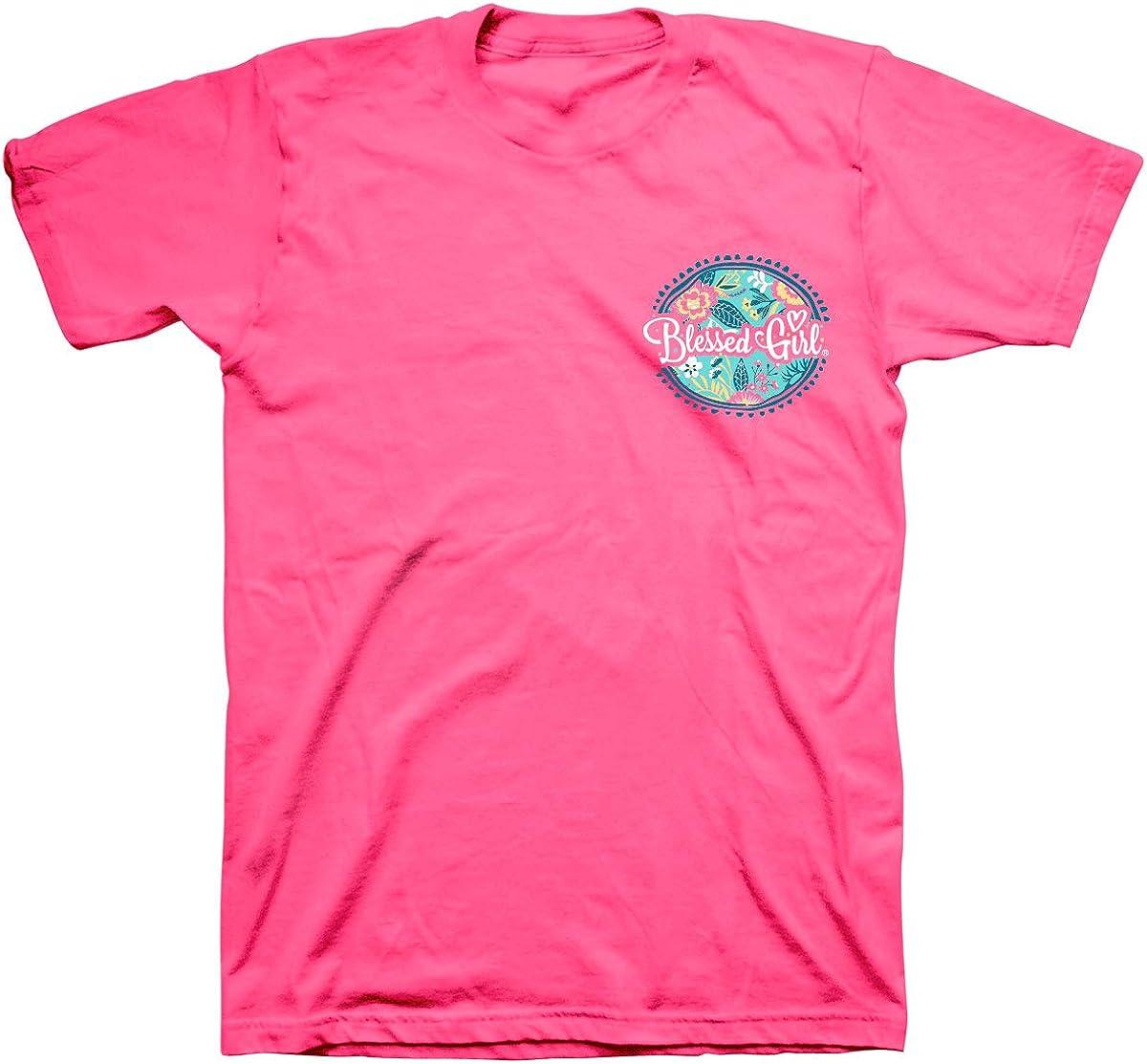 Blessed Girl - Camiseta para Mujer, diseño Cristiano, Color Rosa neón