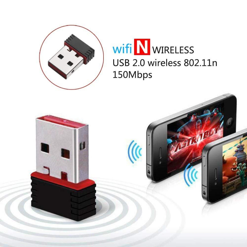 Zibo Mini USB Wifi Wireless Adapter, 150Mbps, Supports Windows XP, Vista,  7, 8 and Linux