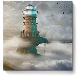Canvas Print Wall Art for Living Room Lighthouse in Roaring Ocean Waves Wall Art Pictures for Home Decor Stretched and Framed Ready to Hang 16 x 16 inches