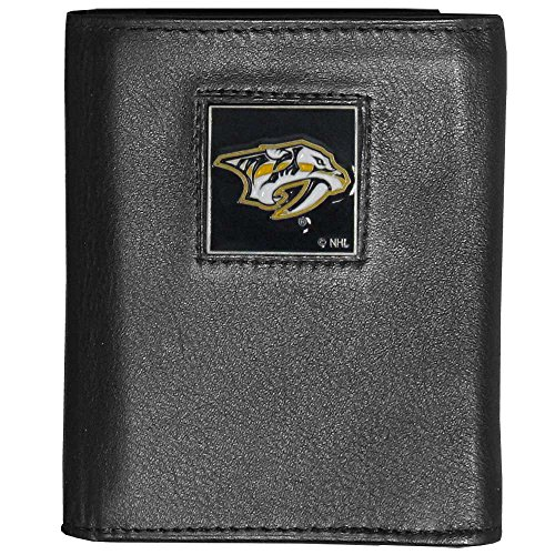 Siskiyou NHL Nashville Predators Deluxe Leather Tri-Fold Wallet Packaged in Gift Box, Black (Leather Nhl Predators)