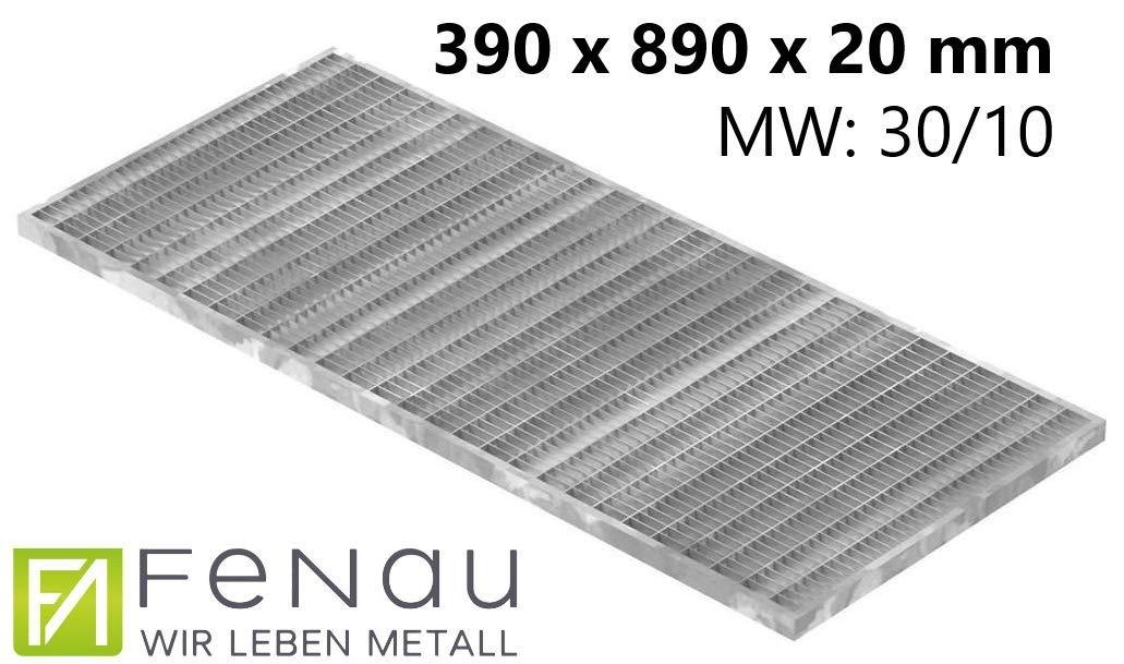 Fenau | Caillebotis//Grille de m/étal d/éploy/é - Dimensions: 390 x 590 x 20 mm - galvanis/ée, cadre: 400 x 600 x 23 mm