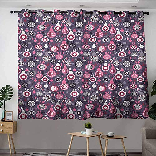 DGGO Blackout Curtains Panels,Fruit Ornamental and Artistic Food Pattern Pears and Apples with Abstract Flower Motifs,Treatment Thermal Insulated Room Darkening,W55x72L Multicolor