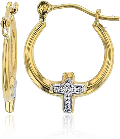 """14k White and Yellow Gold 2mm Two-Tone Long Crossed Hoop Earrings 1.5/"""" 37mm"""