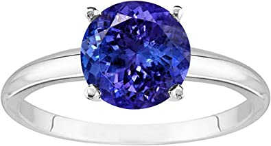 Solitaire Rings,Diamond Ring Anniversary Gift AAA Tanzanite Sterling Silver Ring With Diamond Gift for her Tanzanite Ring