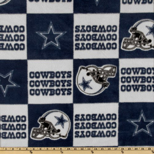 Fabric Traditions NFL Fleece Dallas Cowboys Blocks Blue/Gray Yard (Fabric Cowboys Dallas)