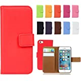 """Fancy Cherry® Luxury Genuine Leather Wallet Stand Folio Case with Card Slot for Apple iPhone 6 4.7"""""""