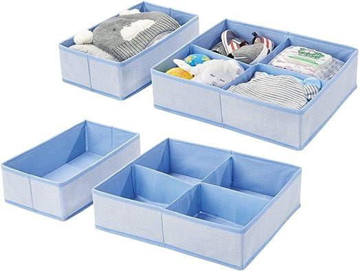 Includes Organizer Bins in 3 Sizes Set of 4 Blue Nursery Herringbone Print with Solid Trim mDesign Soft Fabric Dresser Drawer and Closet Storage Organizer Set for Child//Kids Room