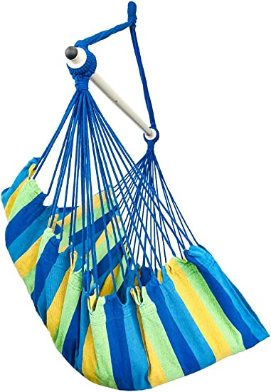 Highwild Hanging Rope Hammock Chair Swing Seat for Any Indoor or Outdoor Spaces – 500 lbs Weight Capacity Blue Green