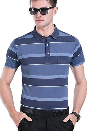 Hombres Camiseta Polo Rayas Manga Corta Vuelta Abajo Camisa Tops ...