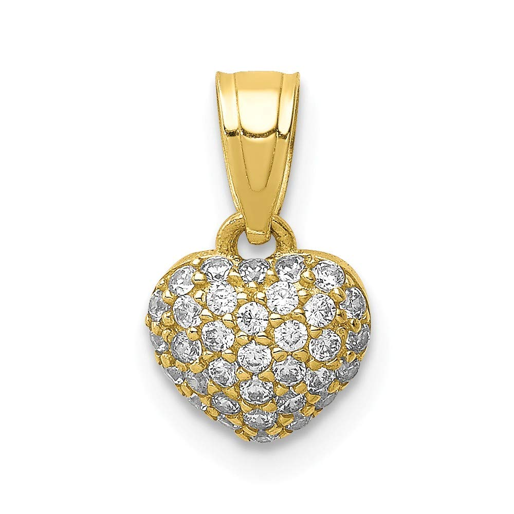 10K Yellow Gold Plated Cubic Zirconia Micropave Heart Pendant