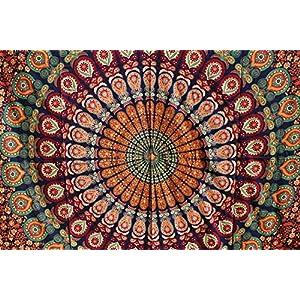 Tapiz bohemio de pared hecho a mano con un diseño de mandala de estilo indio de la luna y del sol, para colgar de la… | DeHippies.com