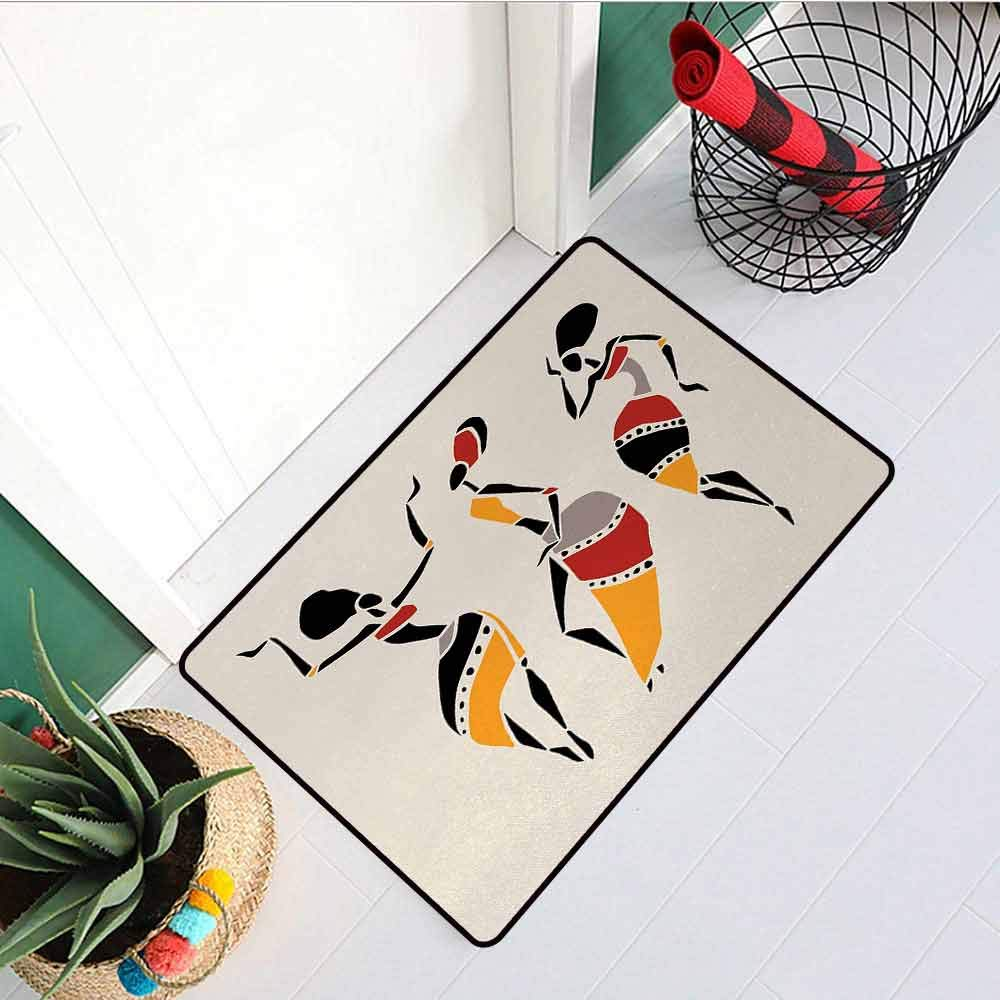 RelaxBear African Woman Front Door mat Carpet African Dancers Silhouette Set Ethnic Native Dresses Party Carnival Tradition Machine Washable Door mat W23.6 x L35.4 Inch Multicolor by RelaxBear