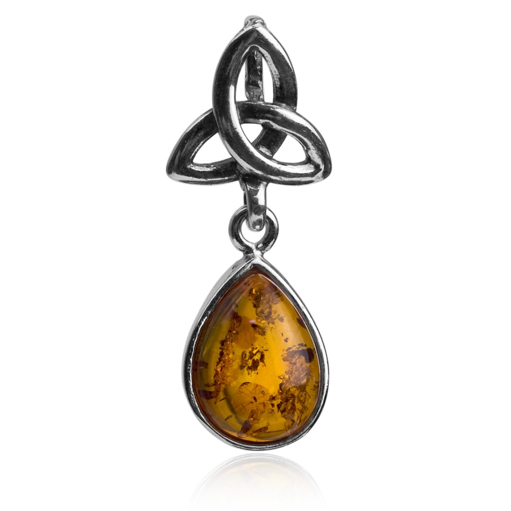 Amber Sterling Silver Classic Celtic Drop Pendant