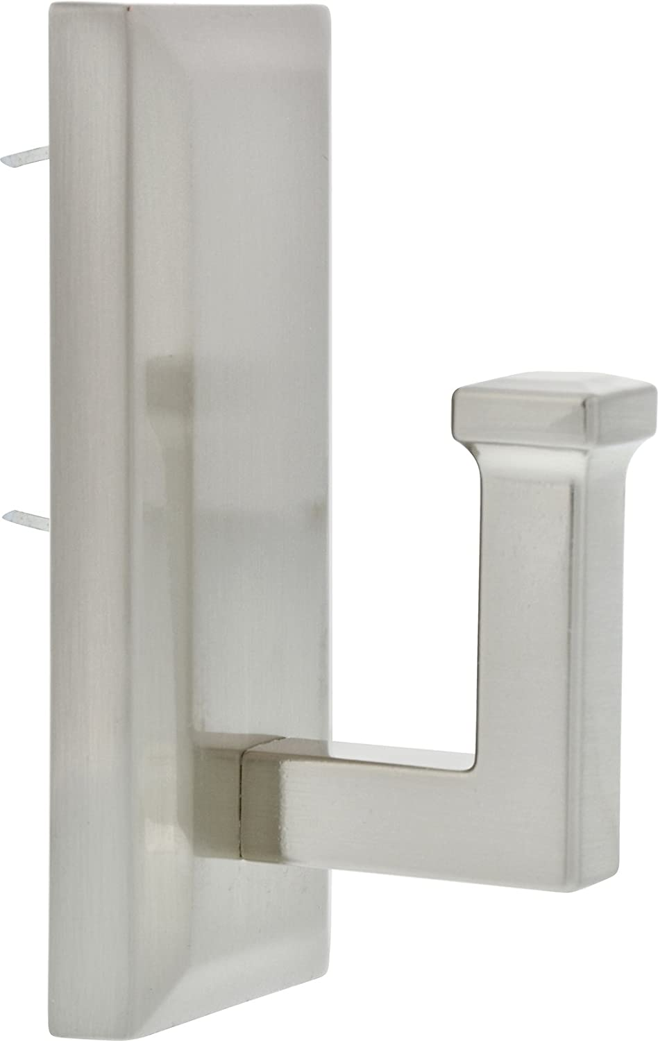 Hillman 515806 Decorative Rectangular Shaped Hook hold up to 25 lb Satin Nickel Metal 1.5x3.5 Inches 1 Hook