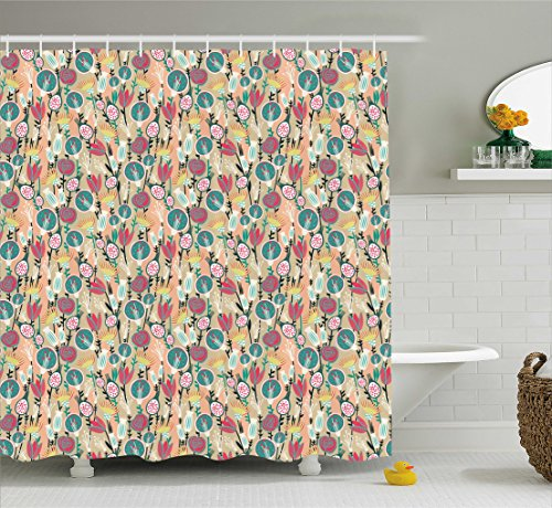 Floral Shower Curtain by Ambesonne, Colorful Pattern with Trippy Designed Roses Tulips Botany Childish Print, Fabric Bathroom Decor Set with Hooks, 70 Inches, Peach Hunter Green