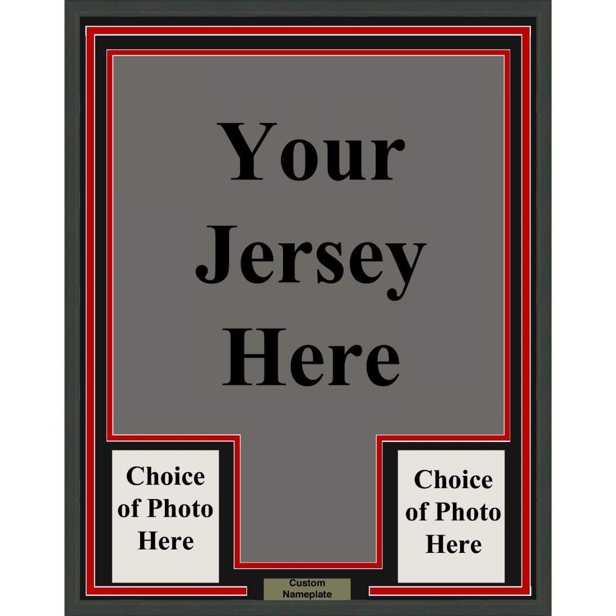 Framed Custom Your Jersey 33x42 Professionally Framed & Matted Deluxe Framing with Photos Jersey Free Shipping