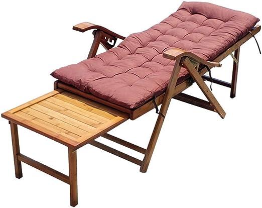 Tumbonas HAIYU Bambú, Sillón Reclinable Plegable Ajustable para Jardín/Terraza/Balcón, Exterior de Madera Silla Reclinable con Escabel: Amazon.es: Hogar