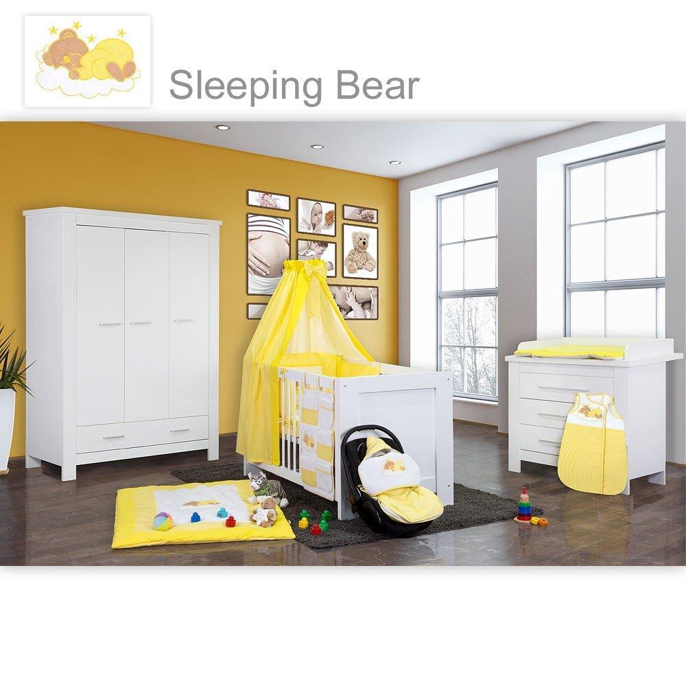 Babyzimmer Enni in weiss 10 tlg. mit 3 türigem Kl. + Textilien von Sleeping Bear, gelb