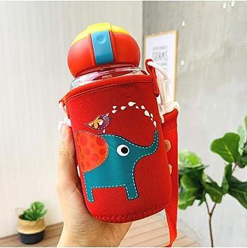 LMSHM Botella Deportiva Botellas de Agua de Vidrio de Paja de Dibujos Animados para niños Botellas de Vidrio de Agua portátil Resistente con Cubierta,Rojo con Cubierta: Amazon.es: Deportes y aire libre